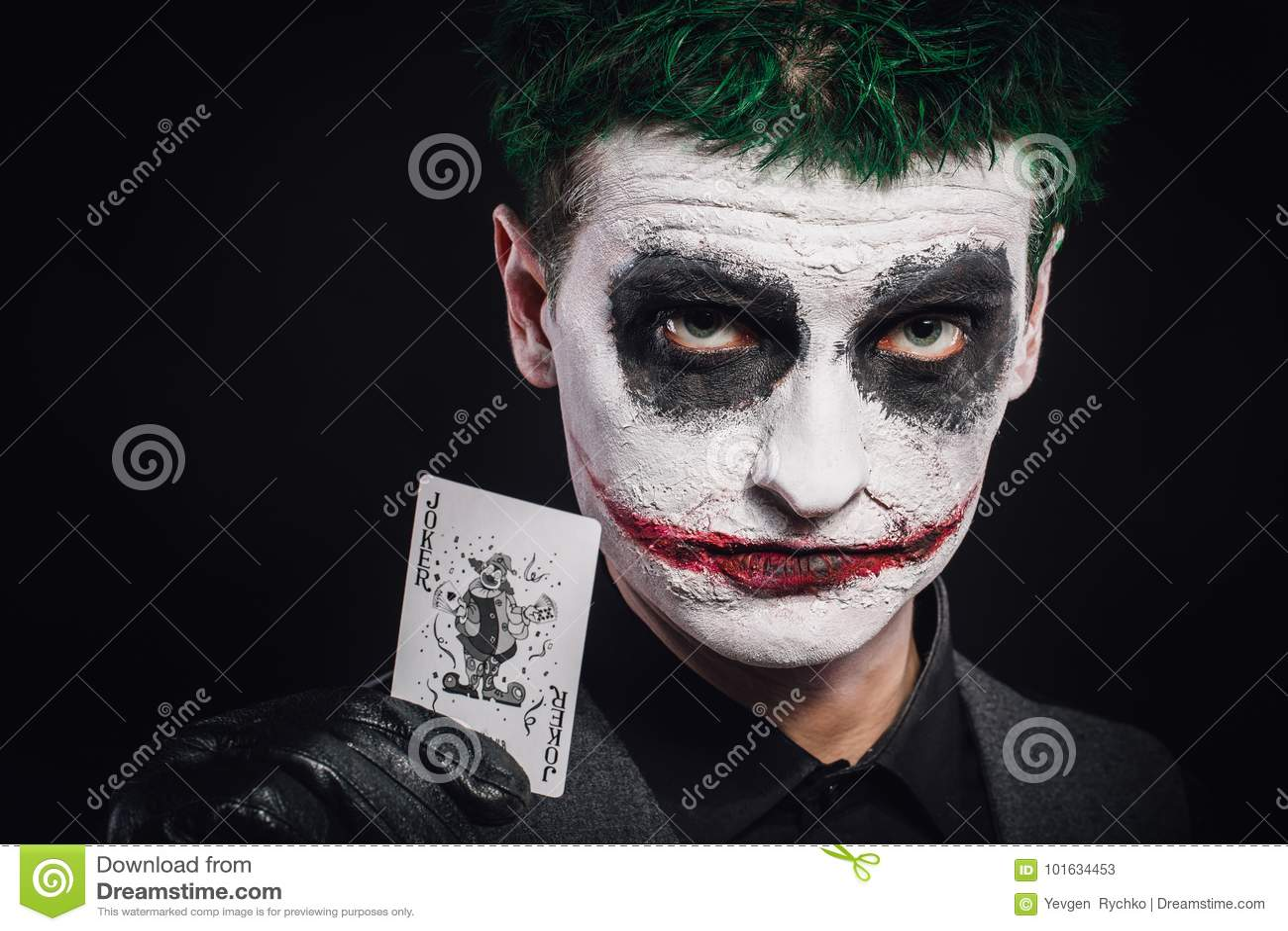Halloween Joker Card.Crazy Joker Face Halloween Stock Image Image Of Card Green