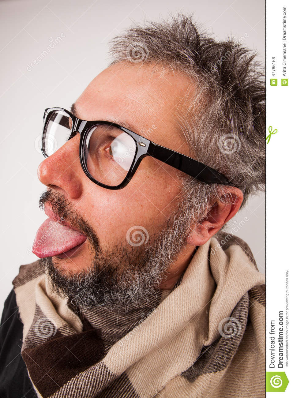 Crazy Old Man With Beard And Glasses