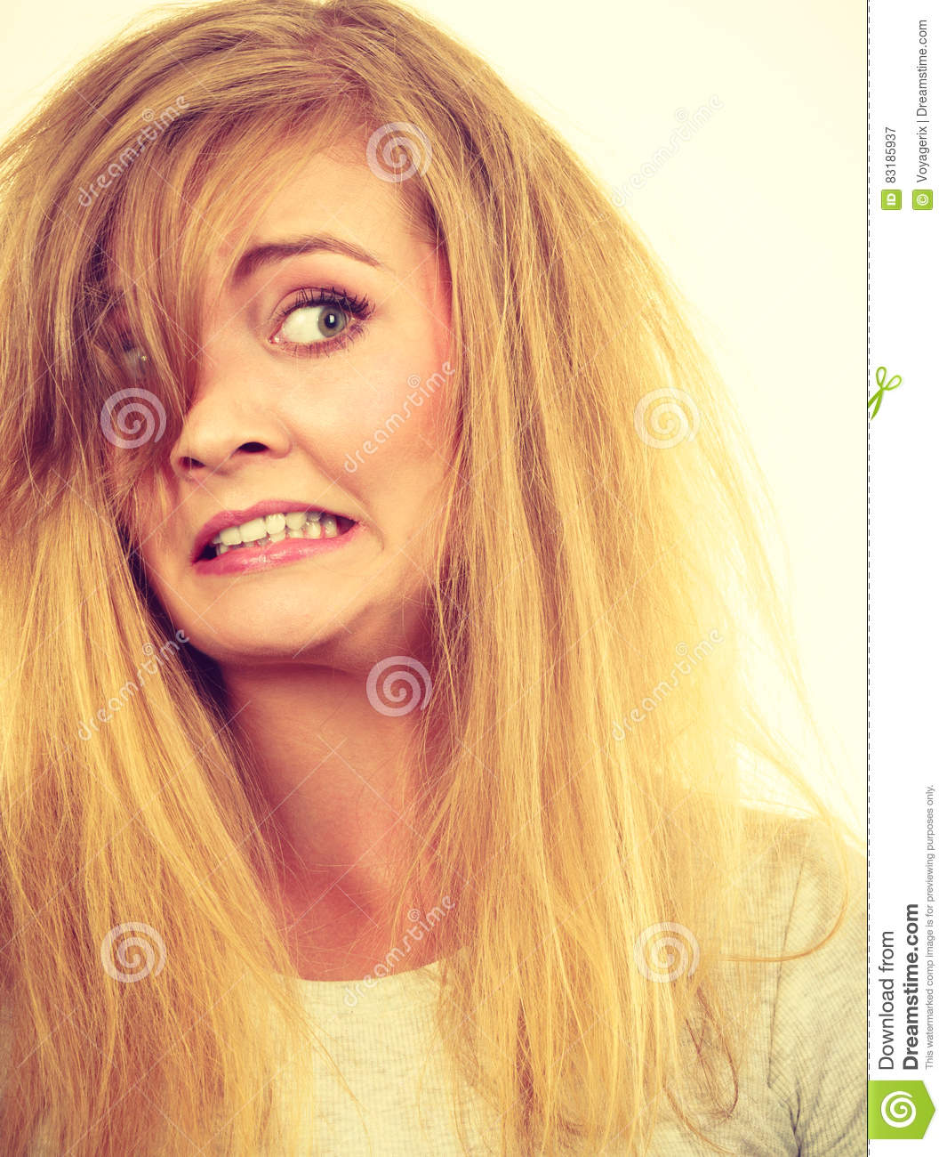 Grimace face clip art stock photo woman pulls a face in upset - Royalty Free Stock Photo