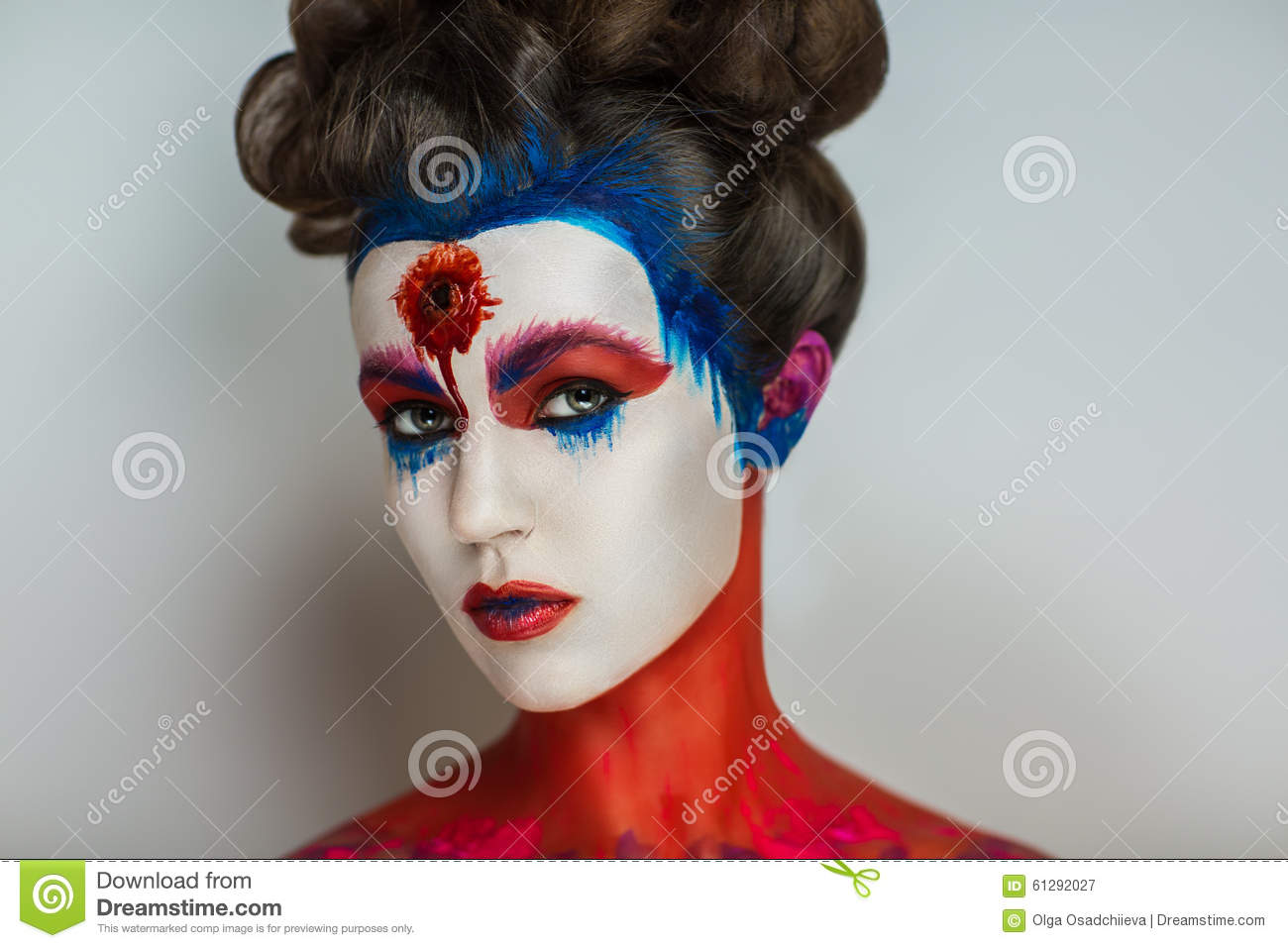 Crazy make up art stock image image of lady blue for Beautiful creative art