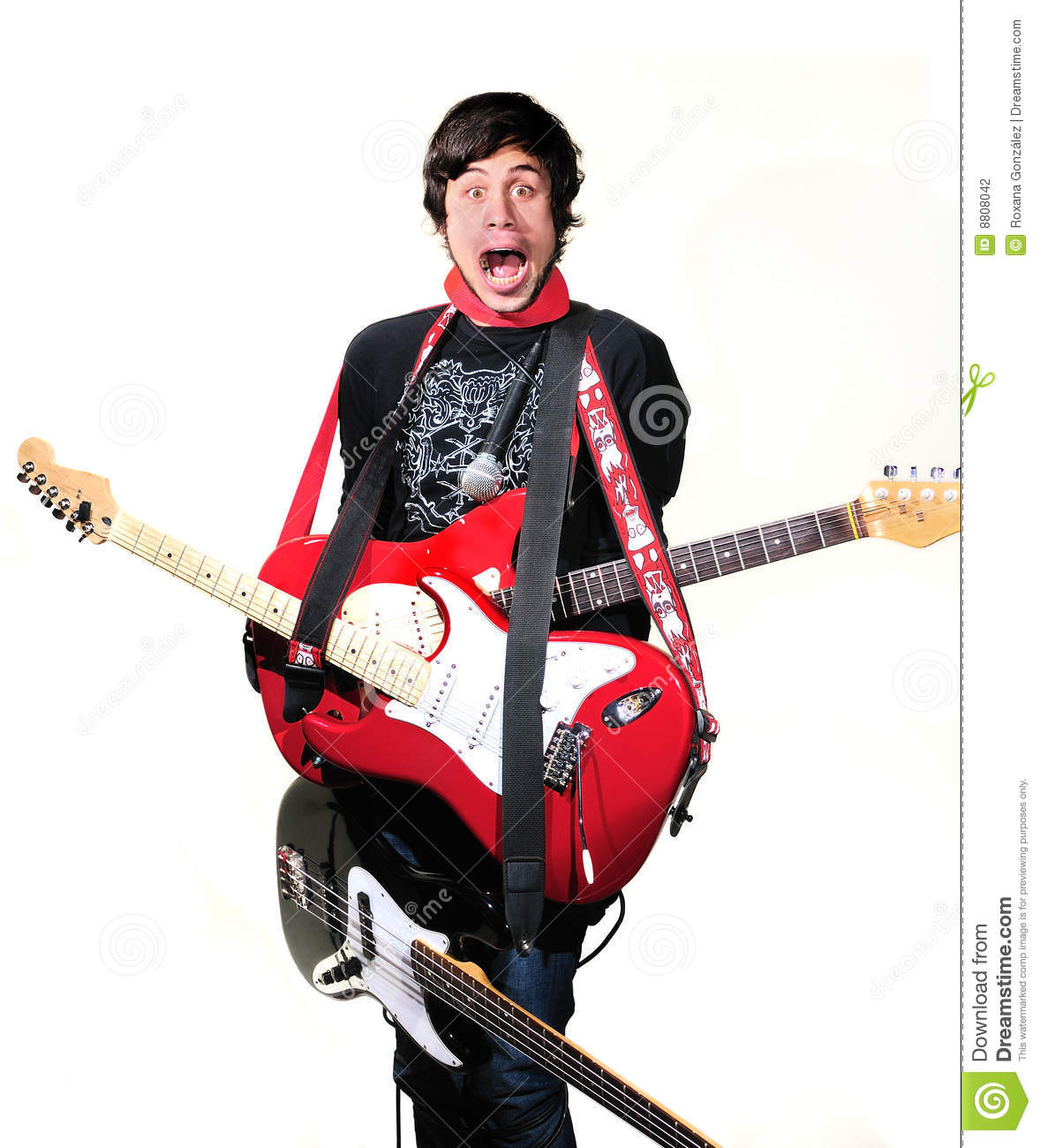 Crazy Man With Electric Guitars Stock Photography Image