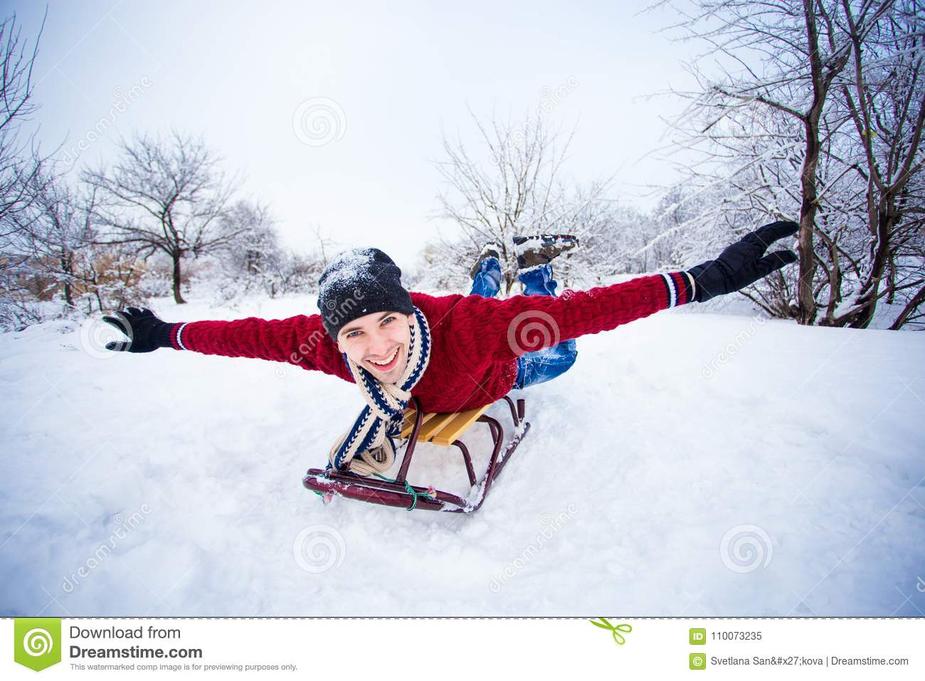 Crazy Man Enjoy A Sleigh Ride Man Sledding Stock Image Image Of