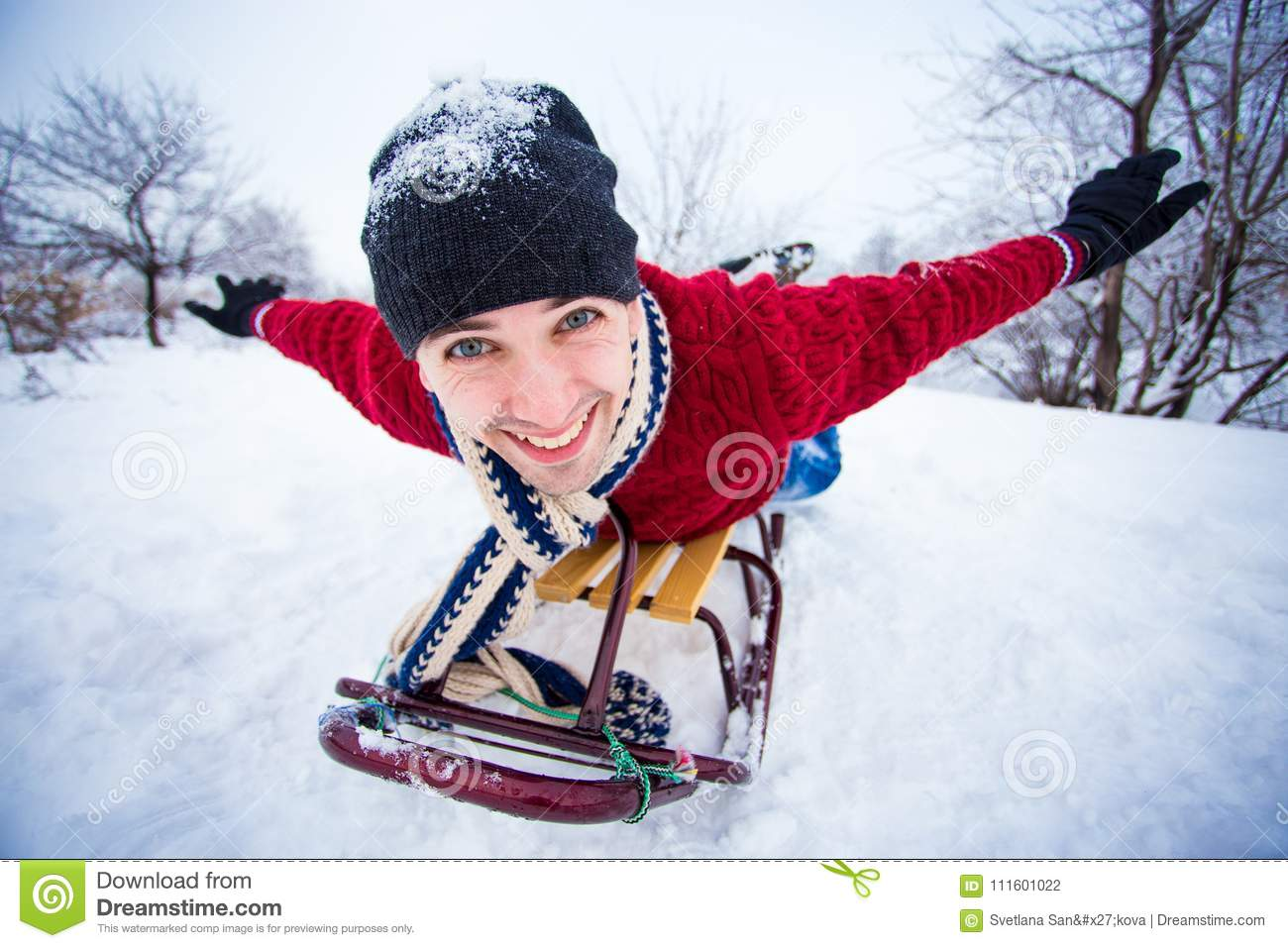 Crazy Man Enjoy A Sleigh Ride Man Sledding Stock Photo Image Of