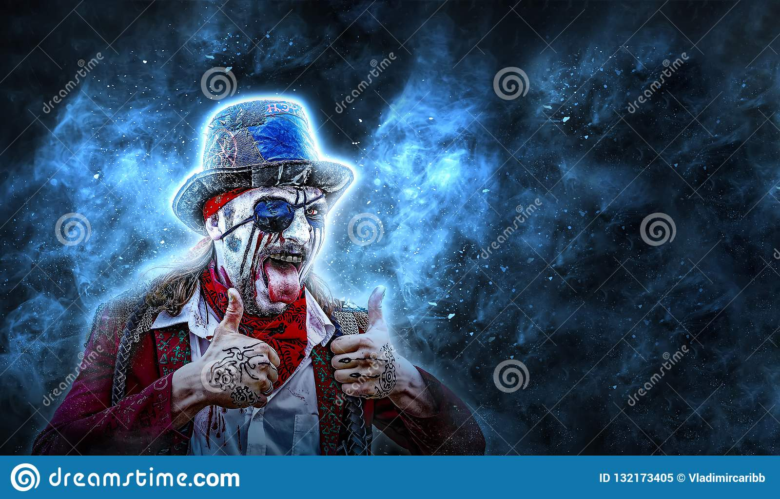 Crazy pirate with an eye patch shows the tongue and two hands thumb up. black background, place for copyspace