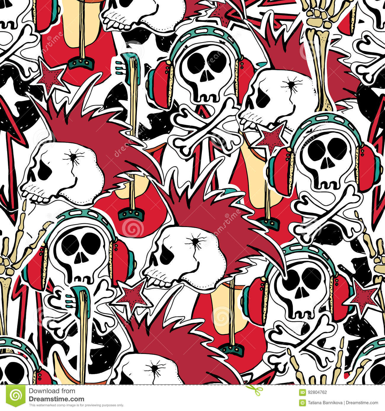 Crazy Punk Rock Abstract Background Skulls Zombie Stock Vector