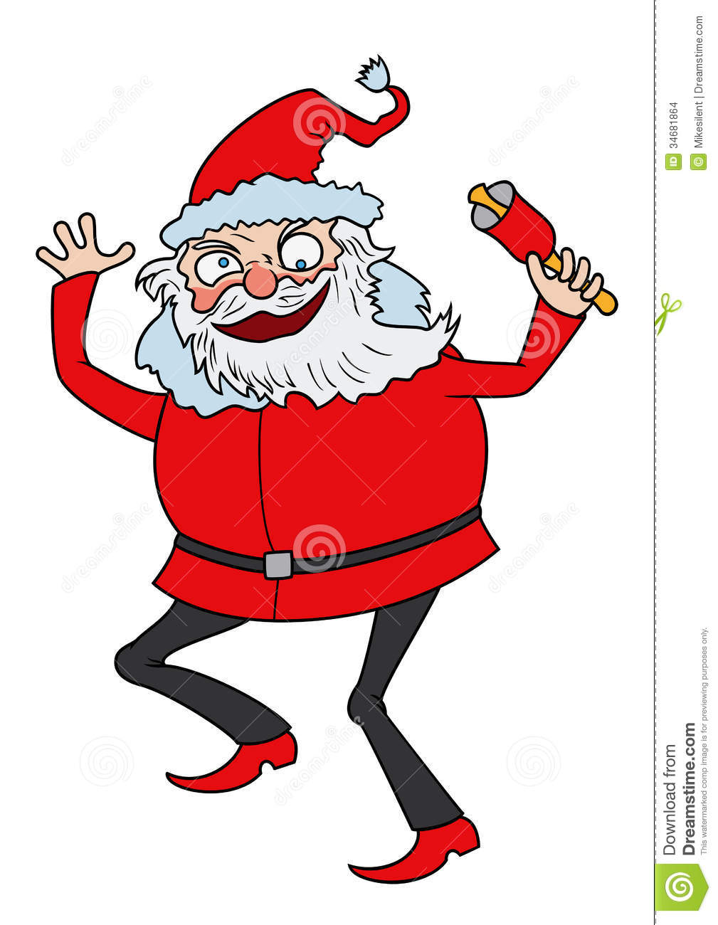 Illustration cartoon funny Santa Claus, dancing with bell. Available ...