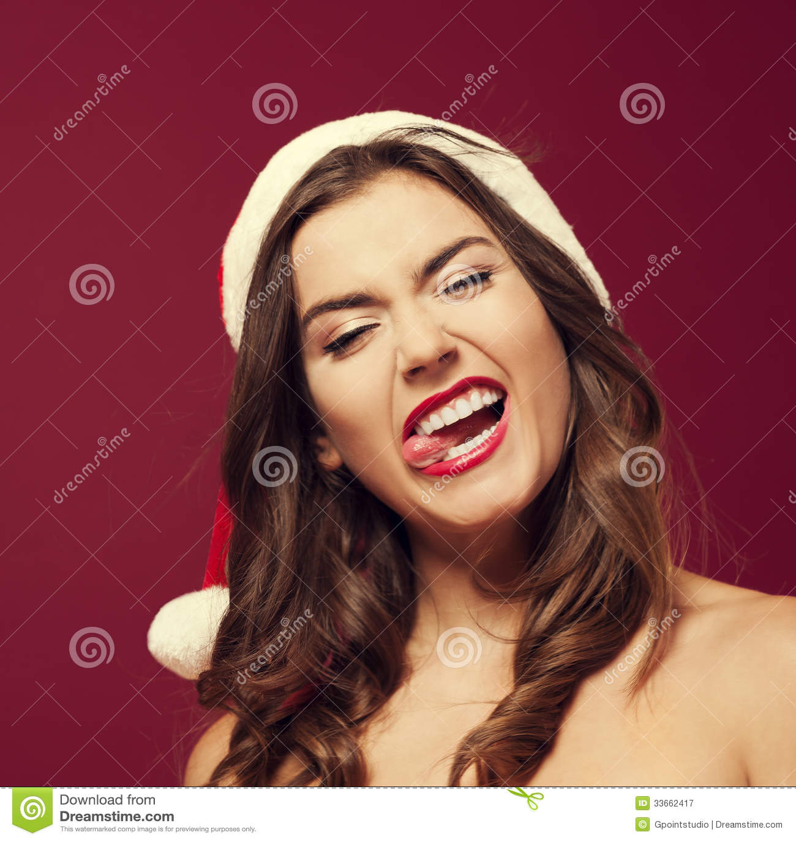 Crazy Santa Woman Royalty Free Stock Photography - Image: 33662417