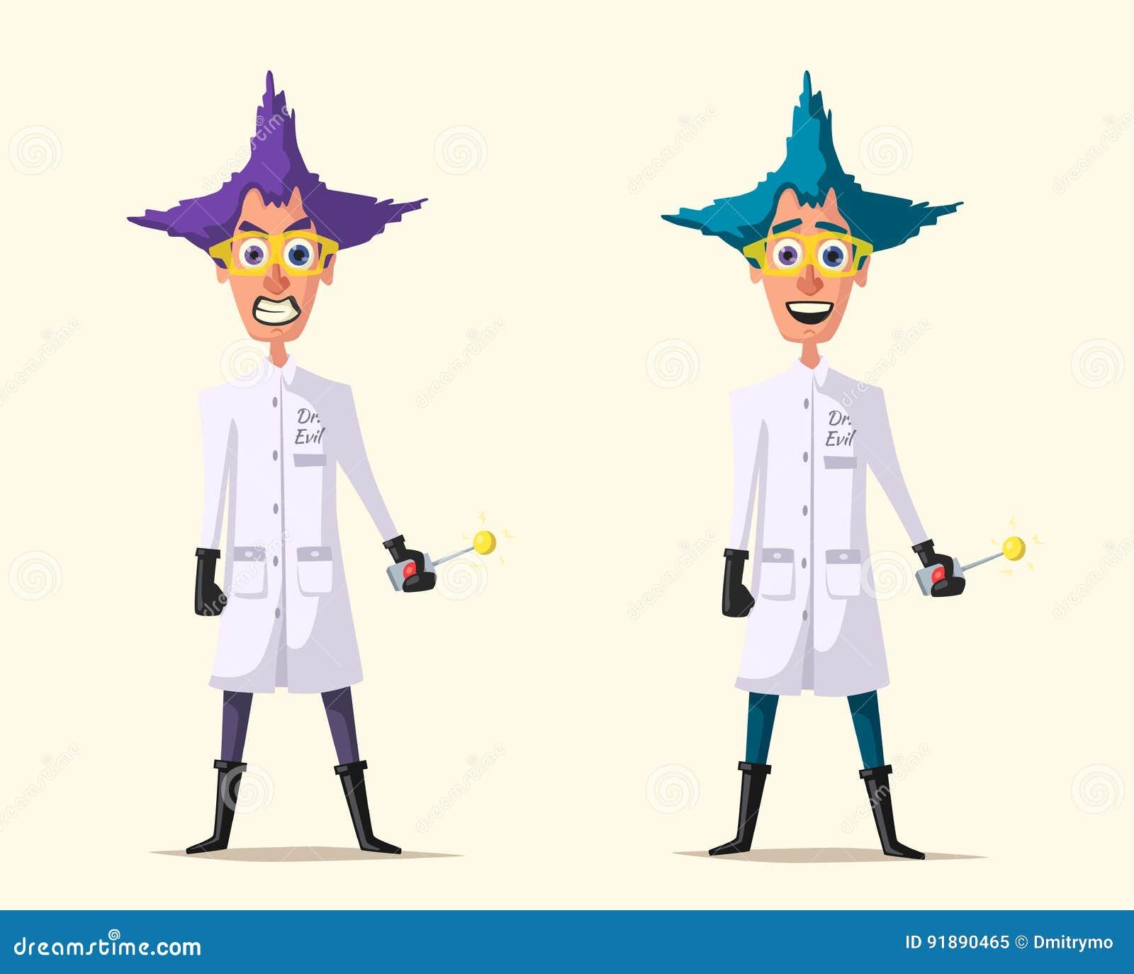 Crazy Scientist Funny Character Cartoon Vector Illustration Mad Professor Science Experiment Remote Controller Doctor Evil Bad Man