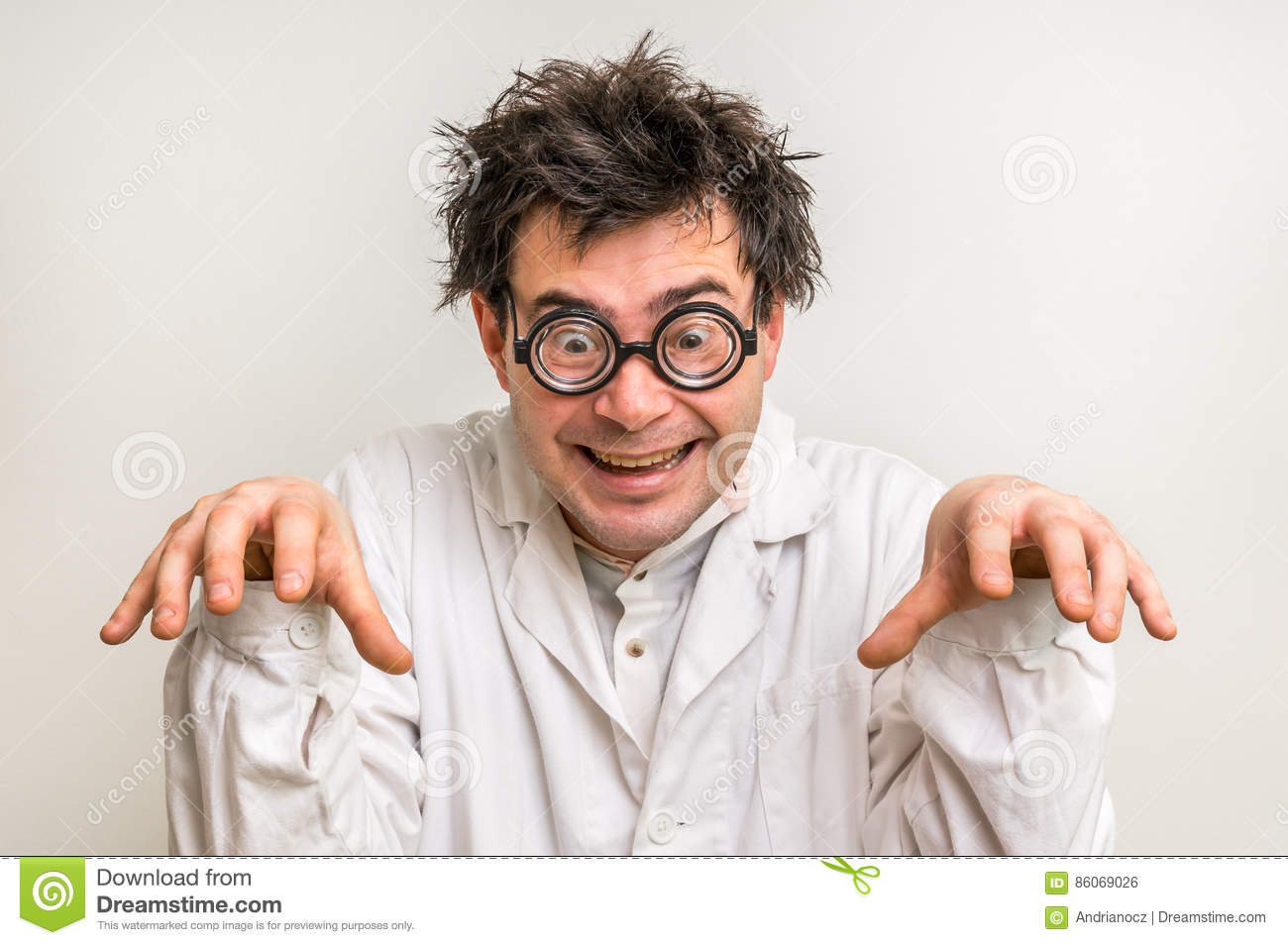 Crazy Scientist With Glasses And White Coat Stock Photo - Image ...