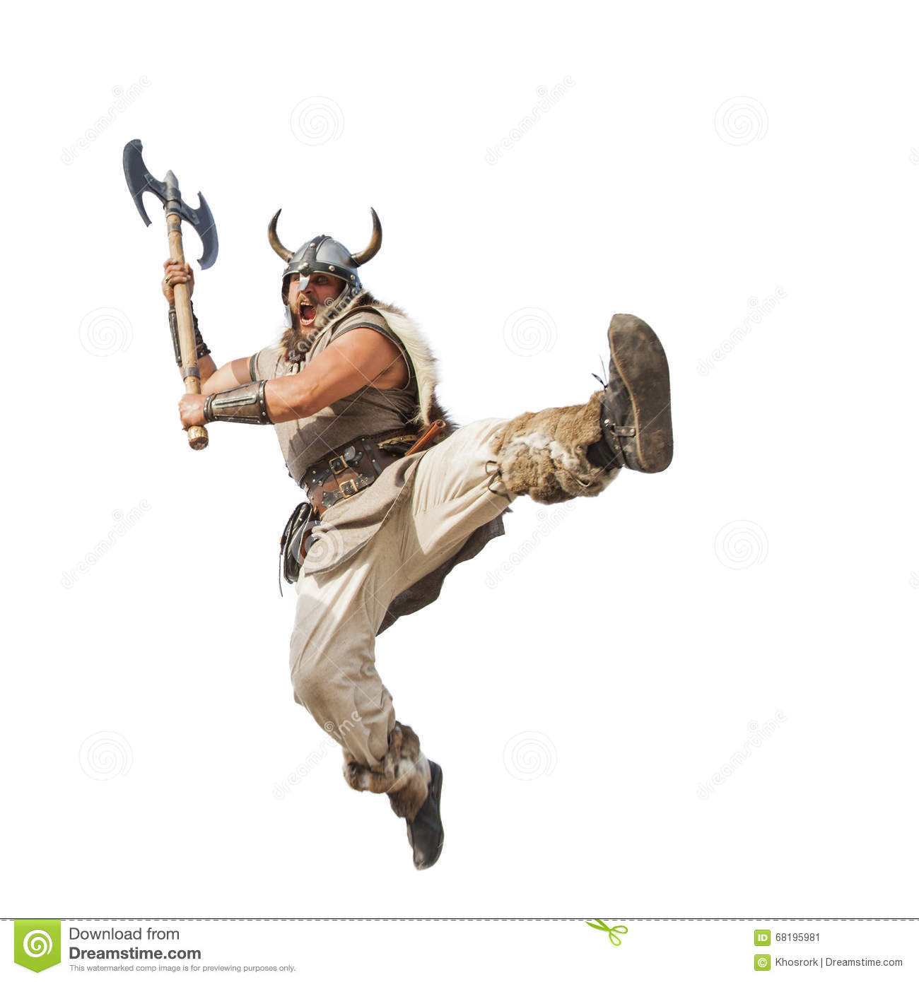 Crazy strong viking isolated on white background.