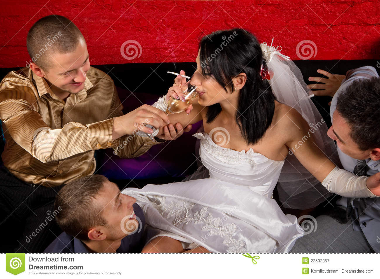 crazy wedding party in night club friends of groom make a drunkard of