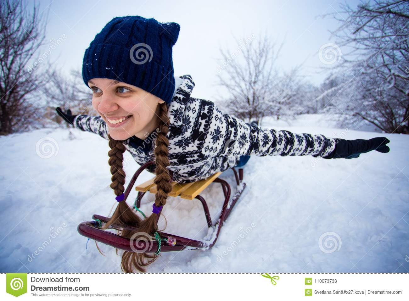 Crazy Woman Enjoy A Sleigh Ride Woman Sledding Stock Image Image