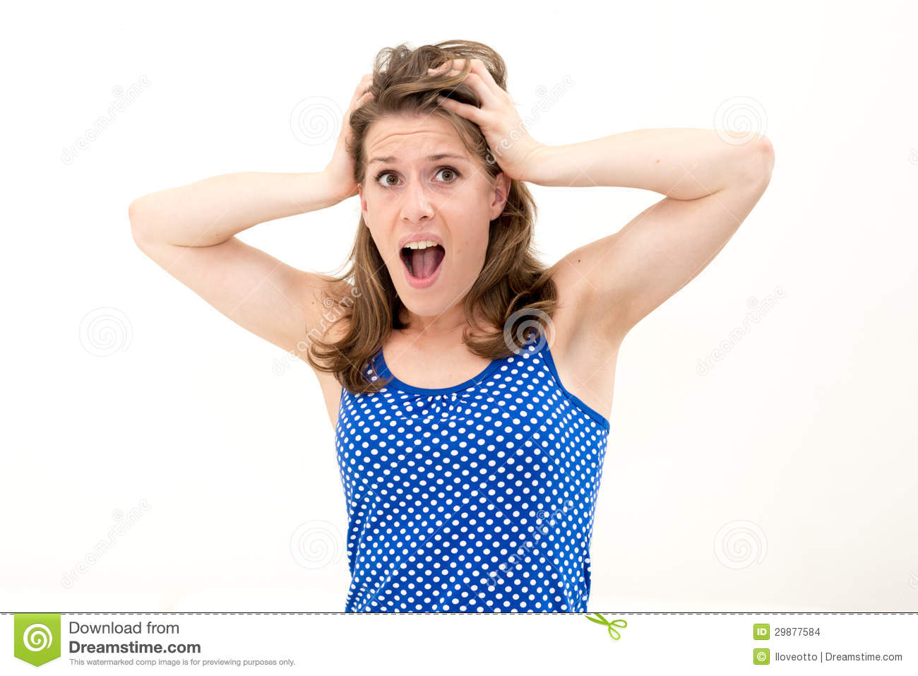 Grimace face clip art stock photo woman pulls a face in upset - Crazy Face Hair Pulling Woman Person Emotions Angry