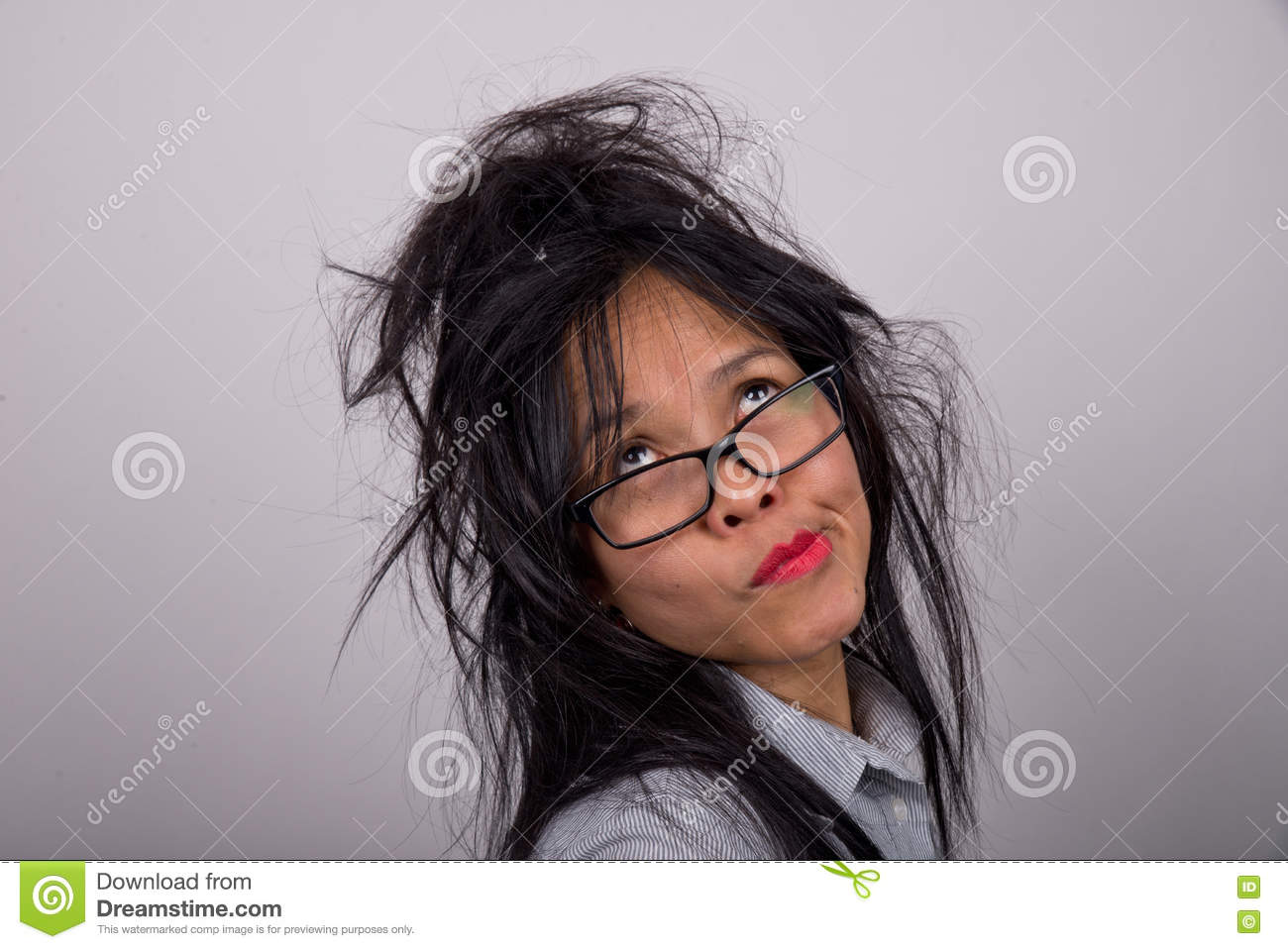 Crazy Woman With Ruffled Hair Stock Image Image 74965591