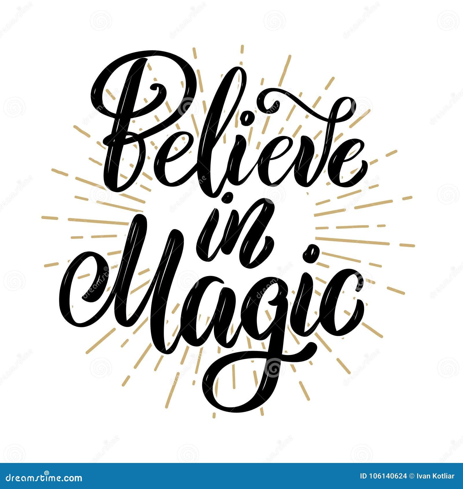 Crea en magia Cita dibujada mano de las letras de la motivación Diseñe el elemento para el cartel, bandera, tarjeta de felicitaci