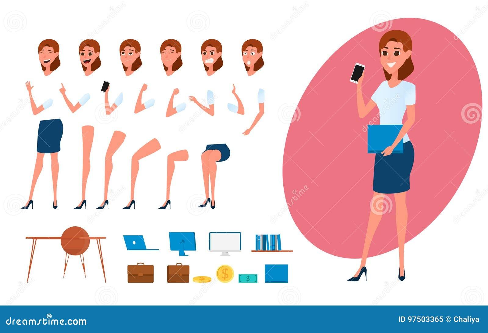 Creación del carácter de la mujer de negocios fijada para la animación Parte la plantilla del cuerpo Diversas emociones, actitude