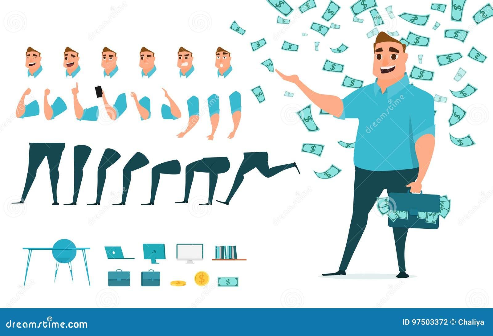 Creación del carácter del hombre de negocios fijada para la animación Parte la plantilla del cuerpo Diversos emociones, actitudes