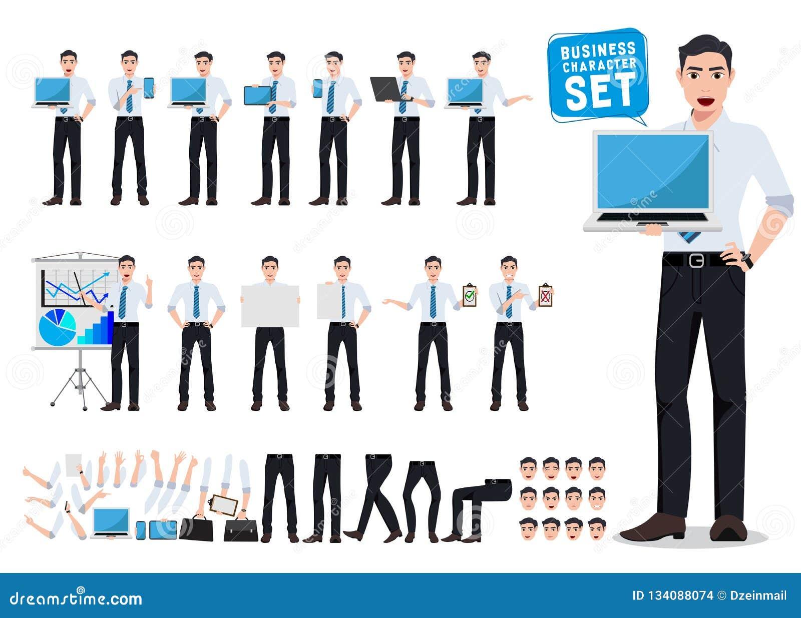 Creación masculina del carácter del vector de la persona del negocio fijada con el ordenador portátil profesional joven de la ten