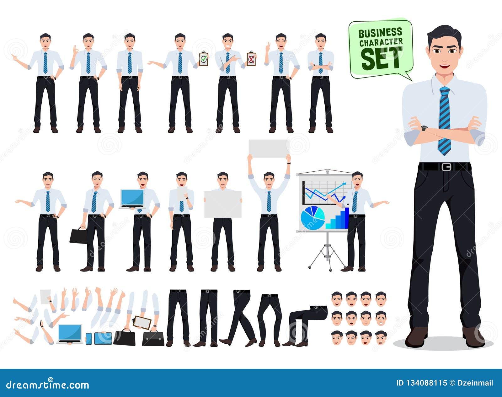Creación masculina del carácter del vector de la persona del negocio fijada con hablar del hombre de la oficina