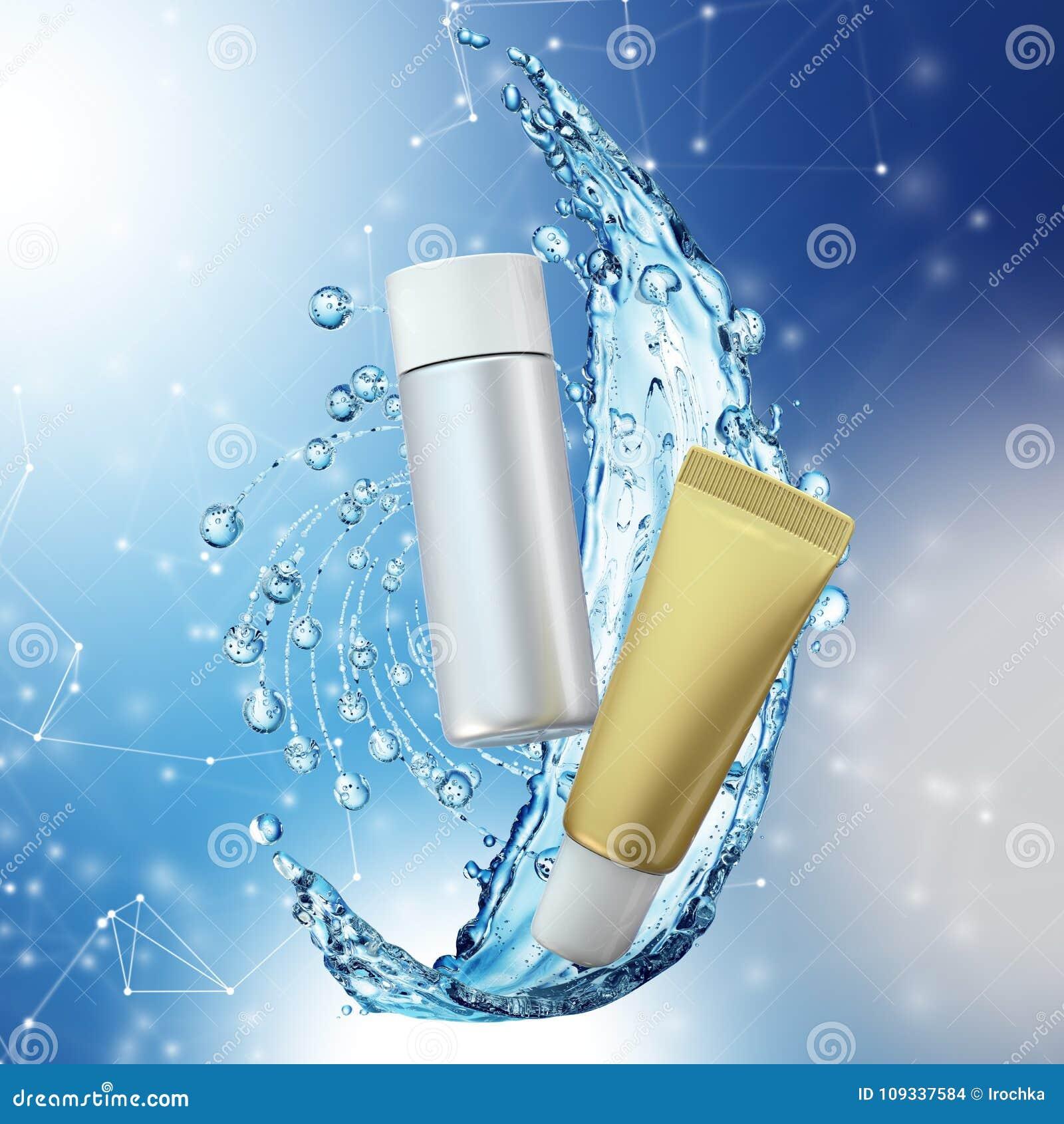 Cream bottle mock up in water splash on blue bokeh background.