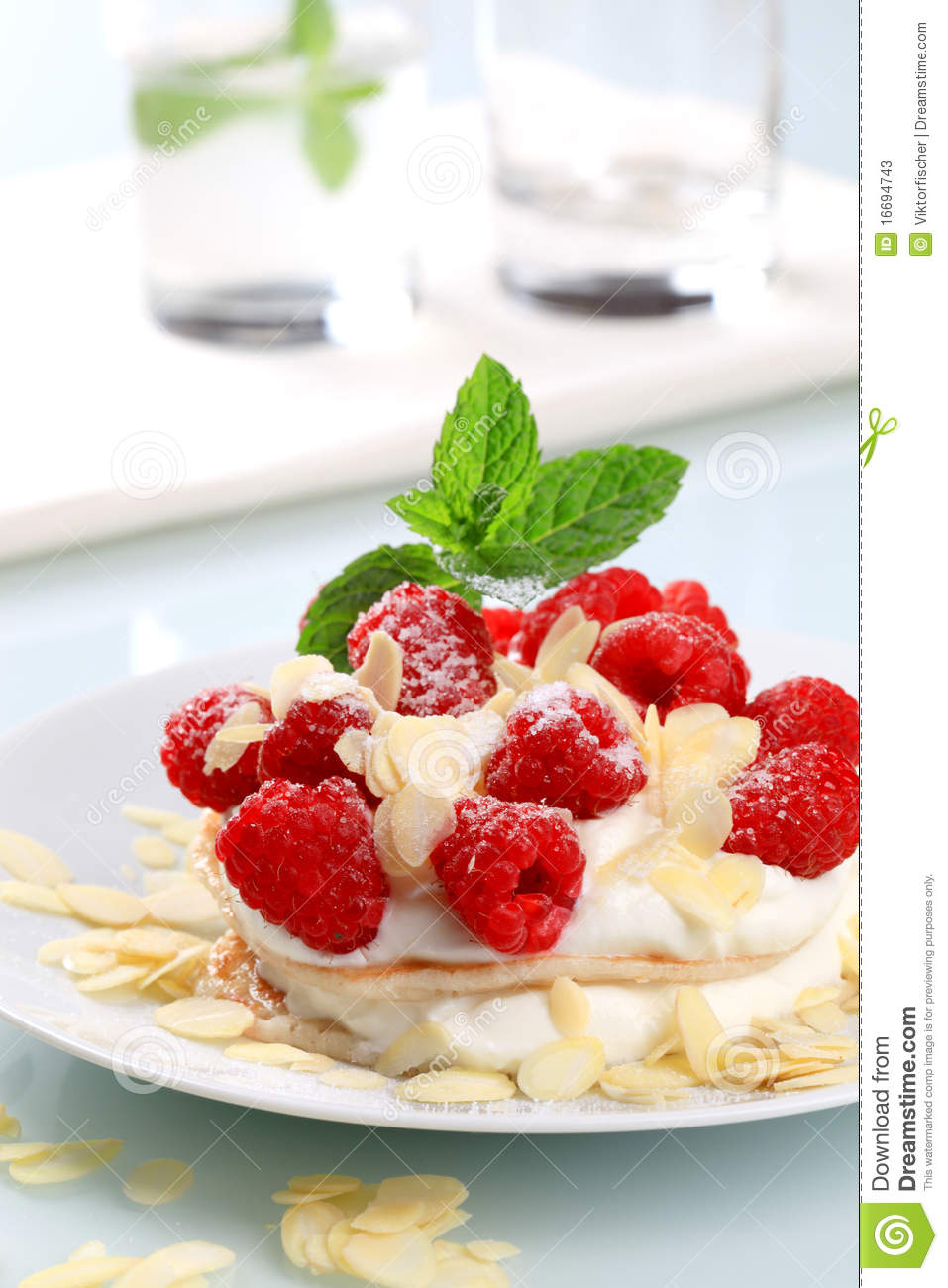 Cream Cheese Pancakes With Raspberries Stock Photos ...