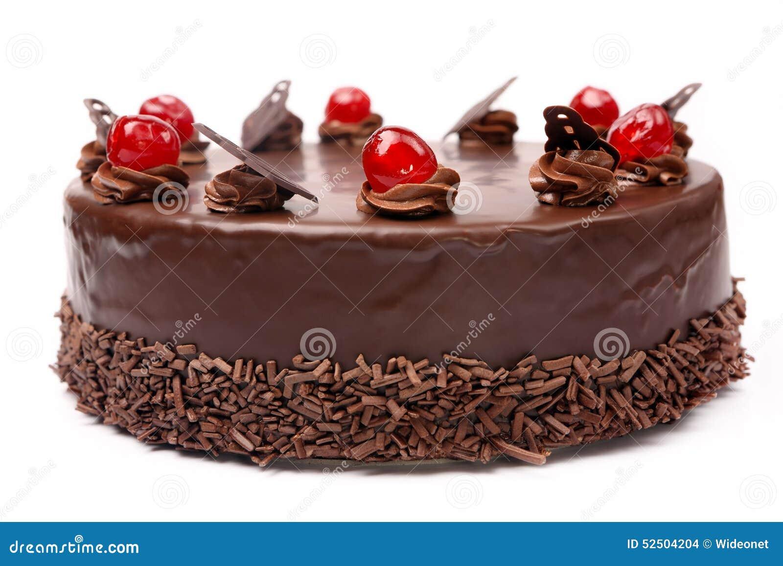 Cream Chocolate Cake With Cherries On White Background