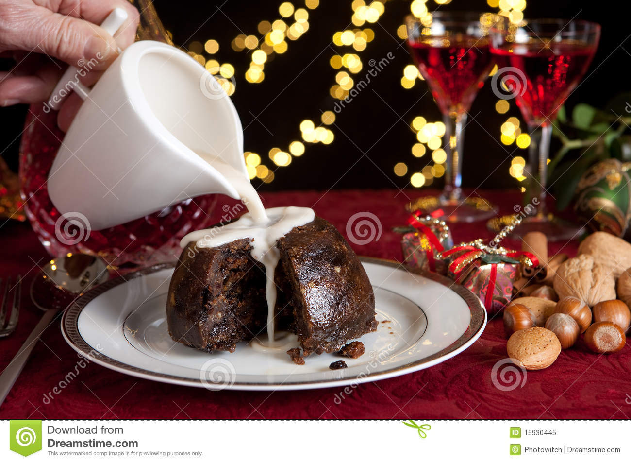 Cream on a christmas pudding royalty free stock photo for Xmas pudding