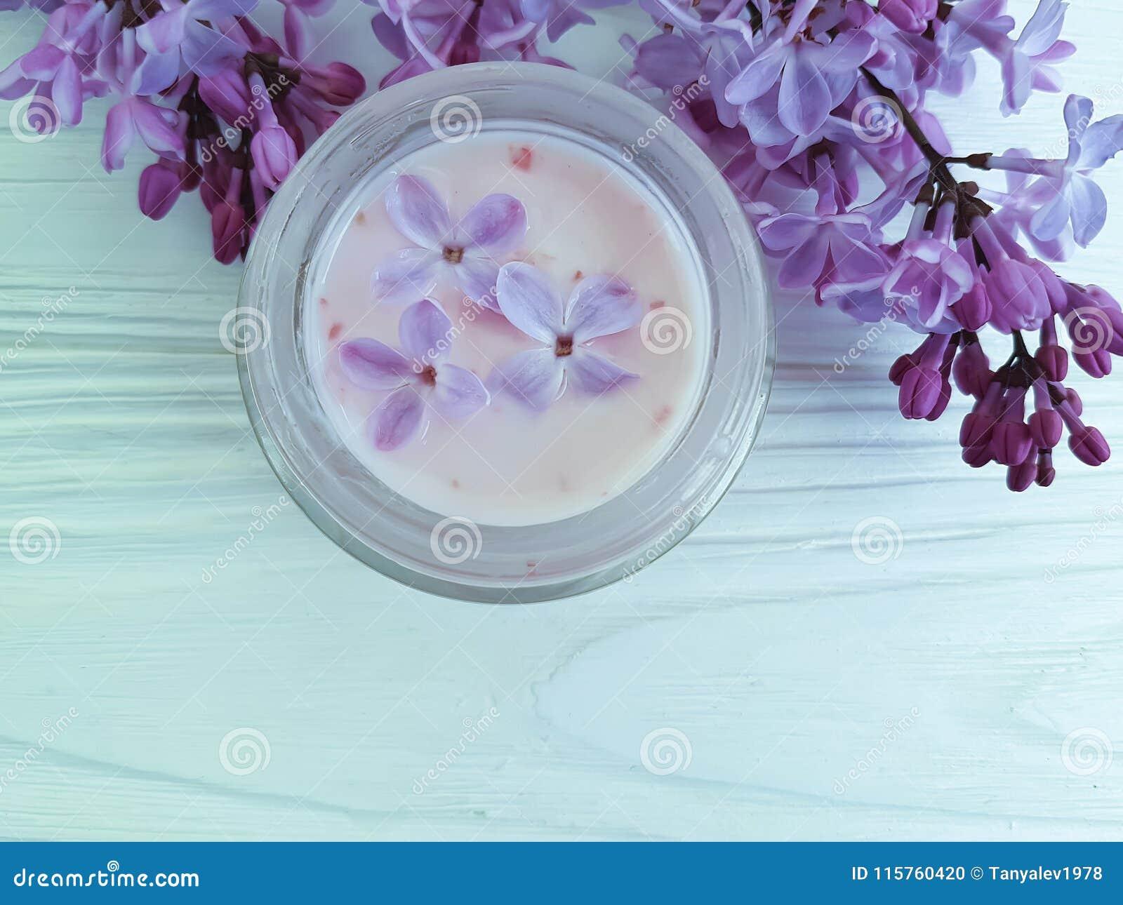 Cream Cosmetic Scrub Lilac Flower Moisturizer Aromatic Treatment On