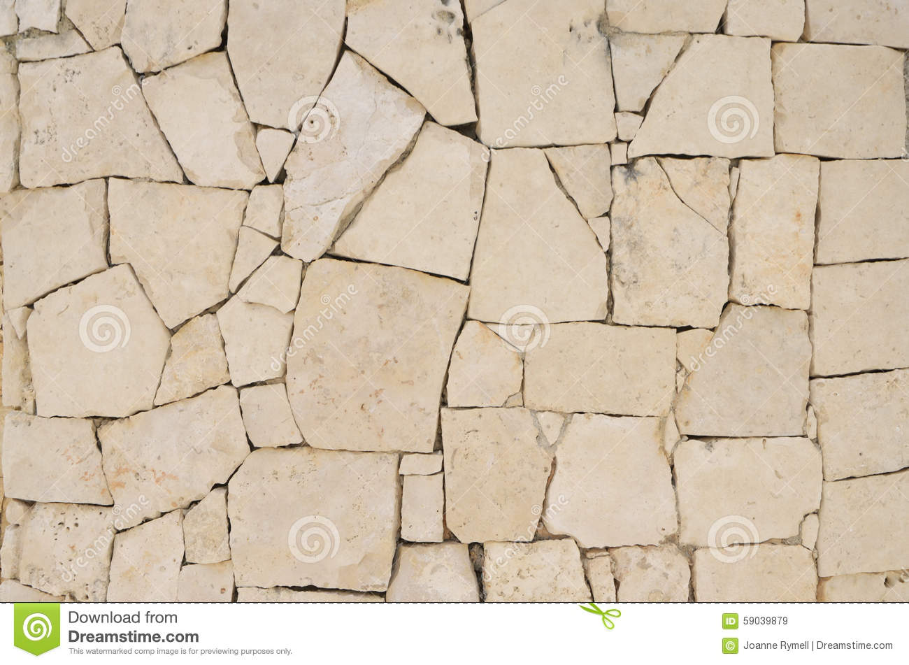 Cream Crazy Paving Stone Wall Pattern Stock Photo Image