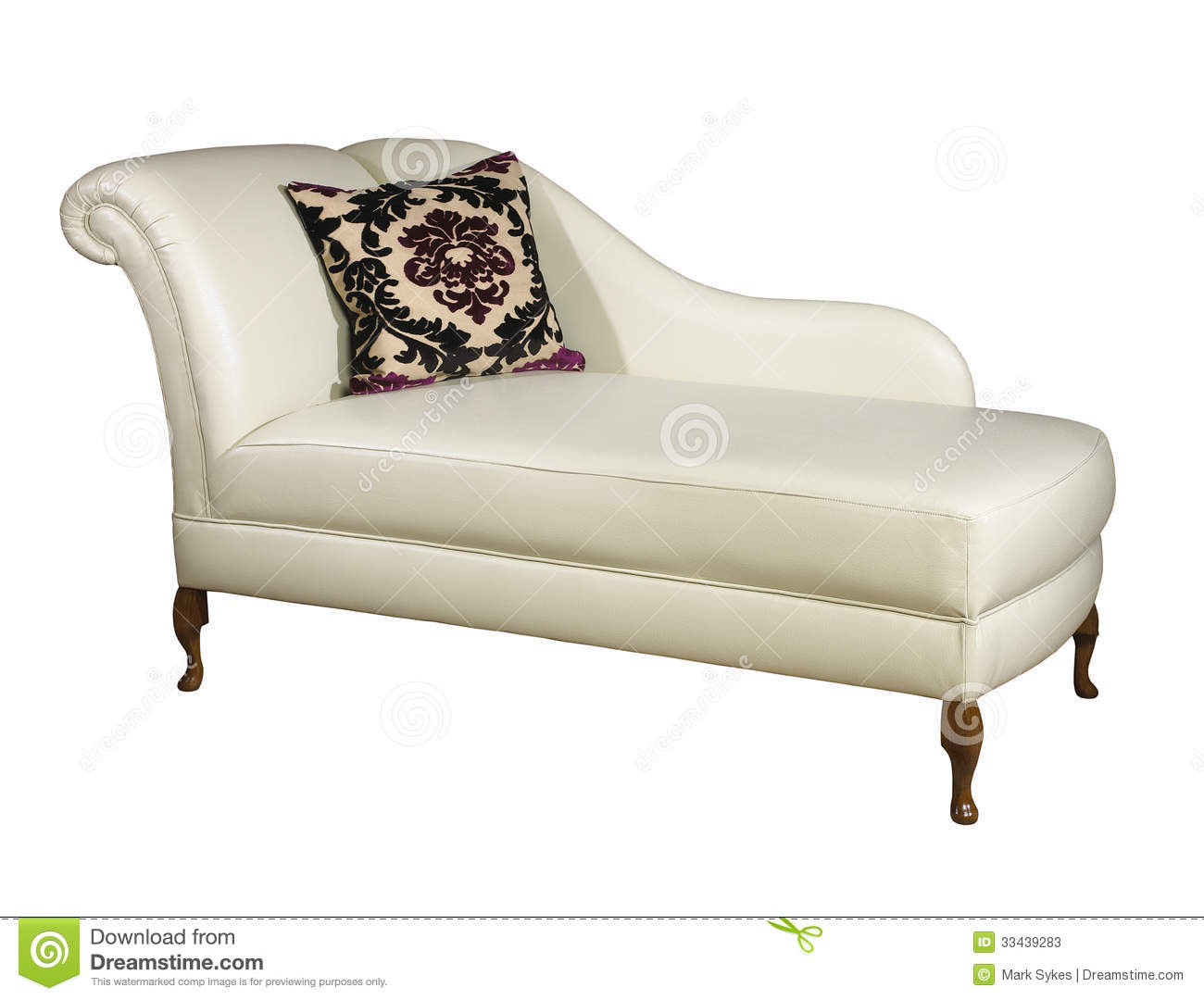 Cream Leather Chaise Isolated On White Background Stock