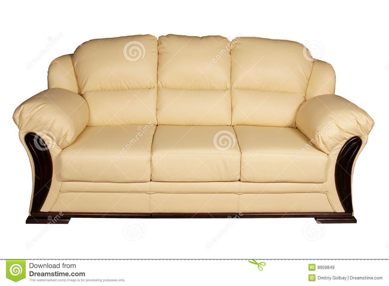 Cream leather sofa stock image. Image of comfort, colored ...