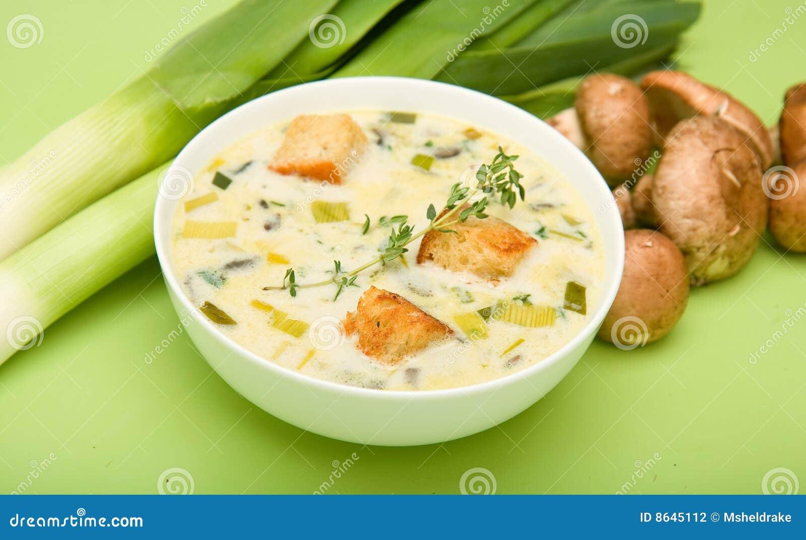 Cream of Mushroom and Leek soup presented with Mushrooms and Leeks.