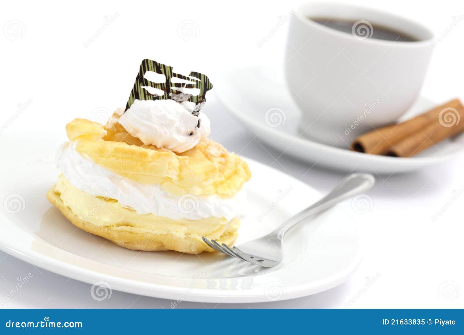 Cream Puff Cake Dessert And Coffee Royalty Free Stock ...