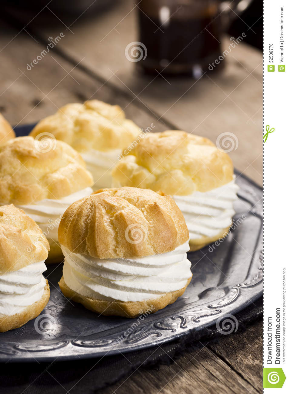 Profiteroles or Creampuffs are pastries made from baked creme a la ...