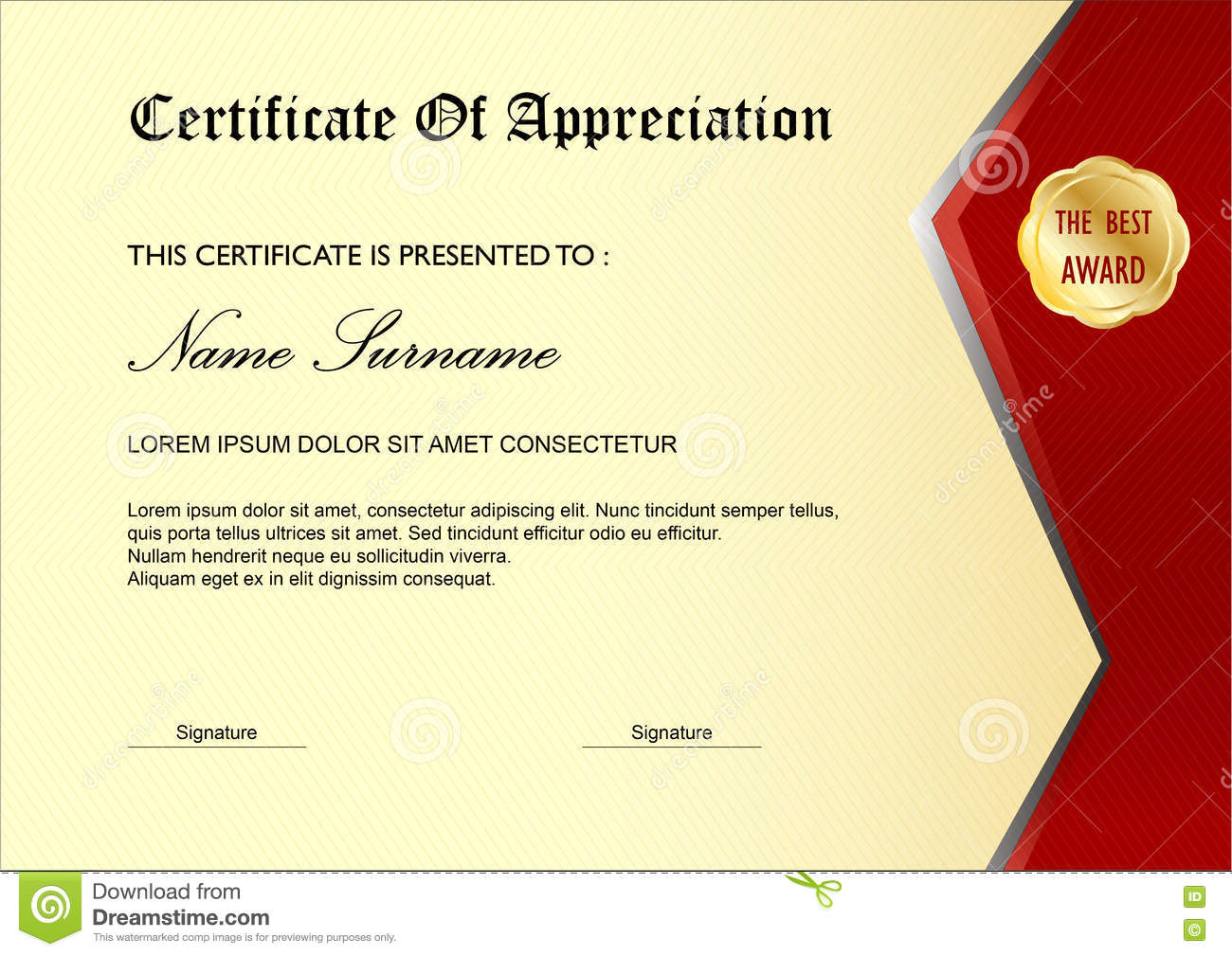 Cream Red Simple Certificate / Diploma Award Template, Stock ...