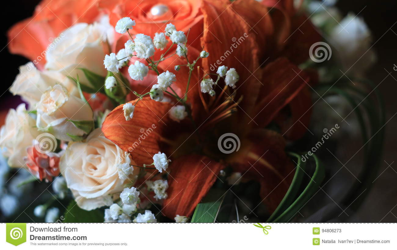 Cream Rosesorange Lilies And Tiny White Flowersdetails Of The