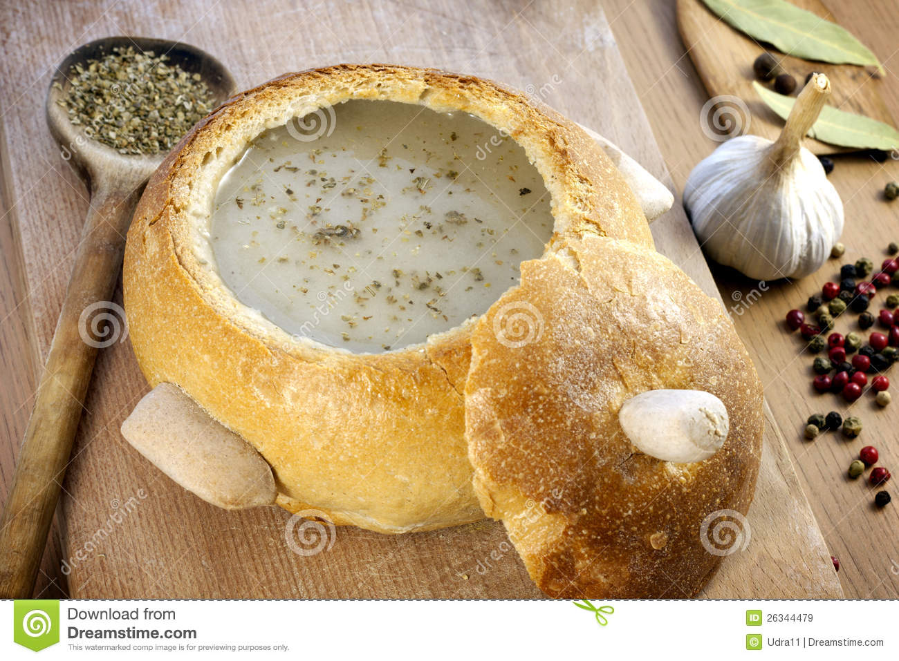 Cream Soup In Bread Plate Royalty Free Stock Images