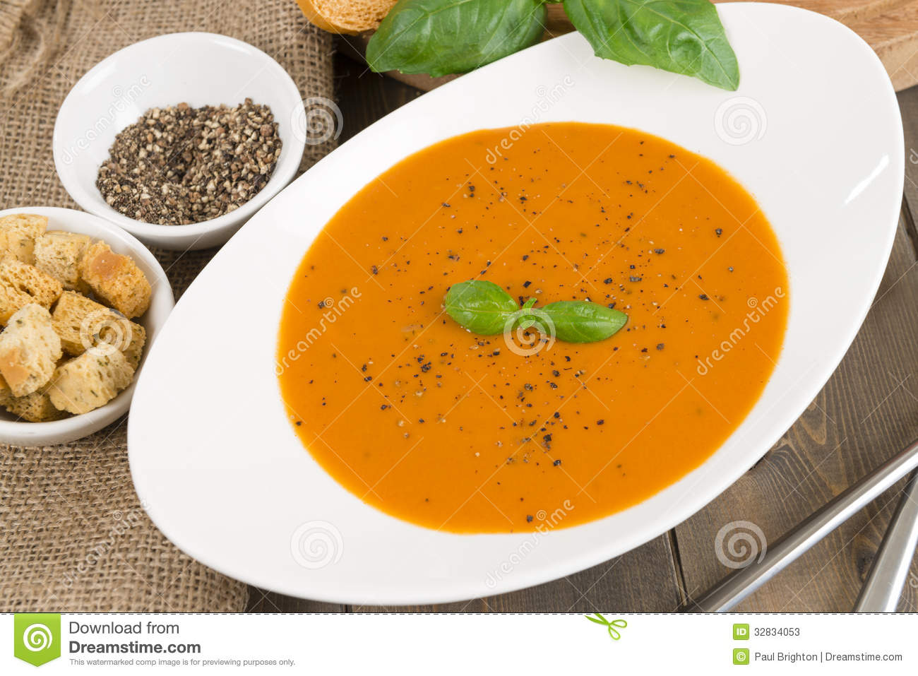 Cream Of Tomato Soup Stock Photos - Image: 32834053 Cream Of Tomato Soup With Garnish