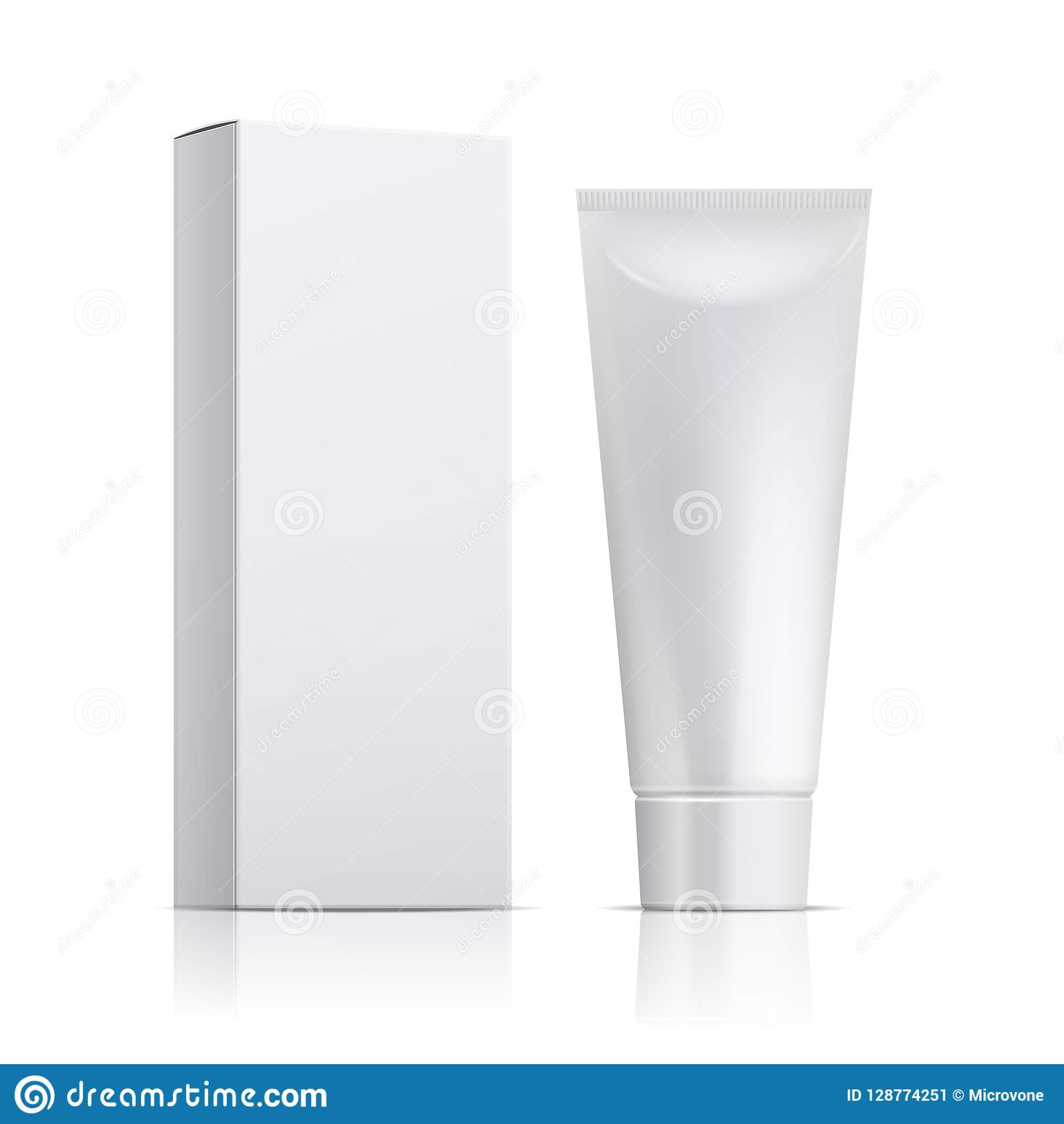 Cream Tube And Packaging Ointment Or Toothpaste Box Mockup 3d White Cosmetic Gel Vector Template Stock Vector Illustration Of Background Isolated 128774251