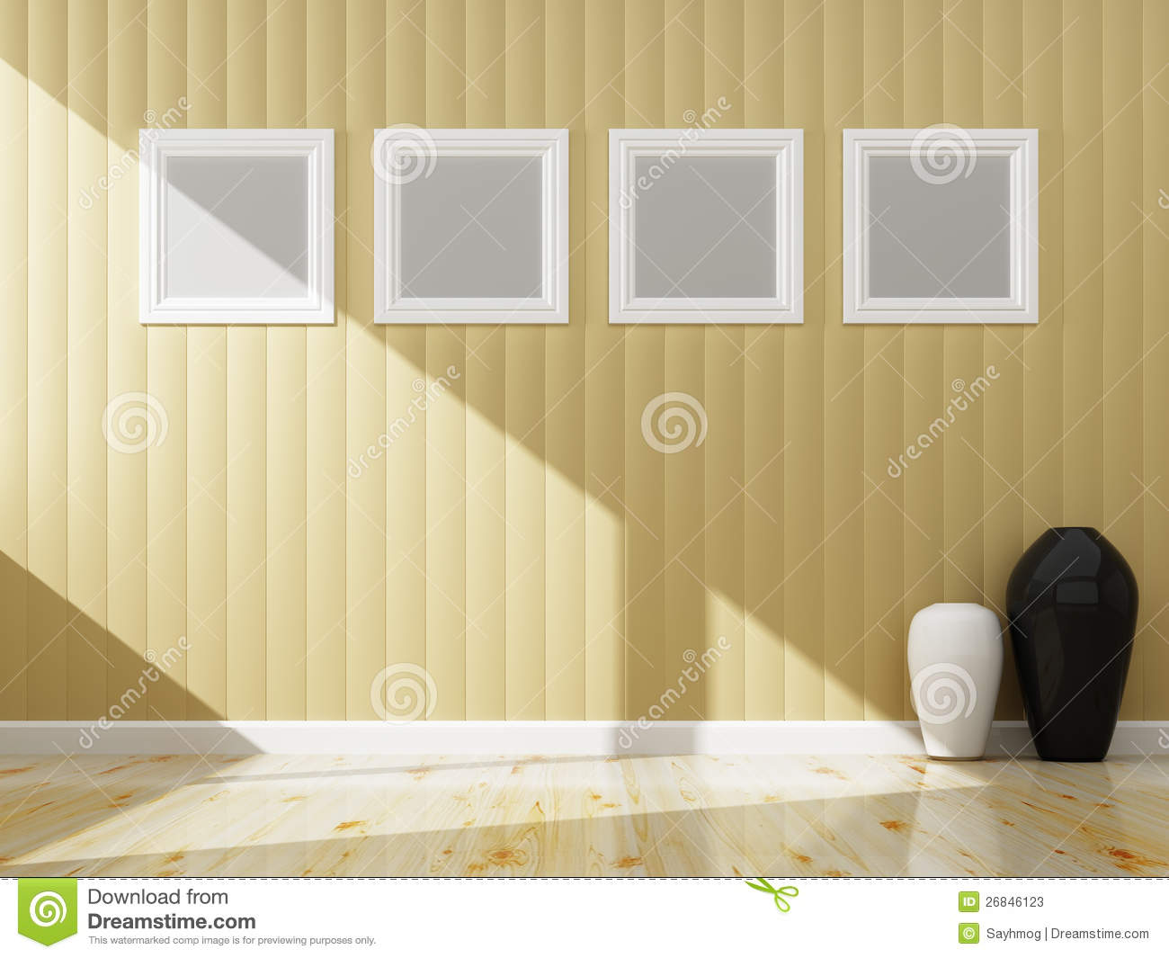 Cream Wall Color And White Frame Of Interior Stock Illustration ...