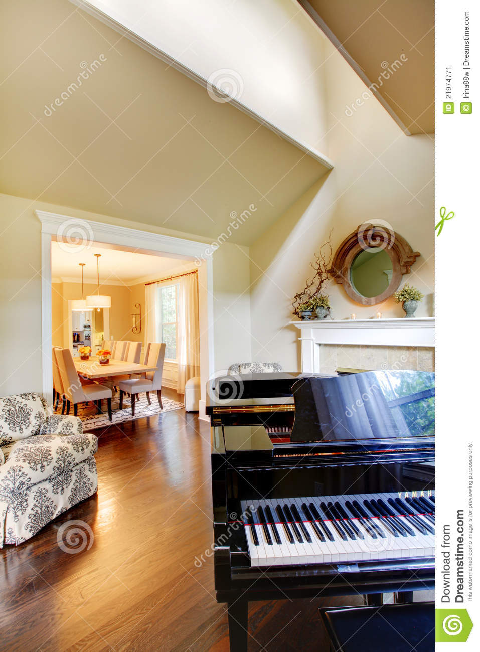 Cream Yellow Living Room With Grand Piano Stock Image