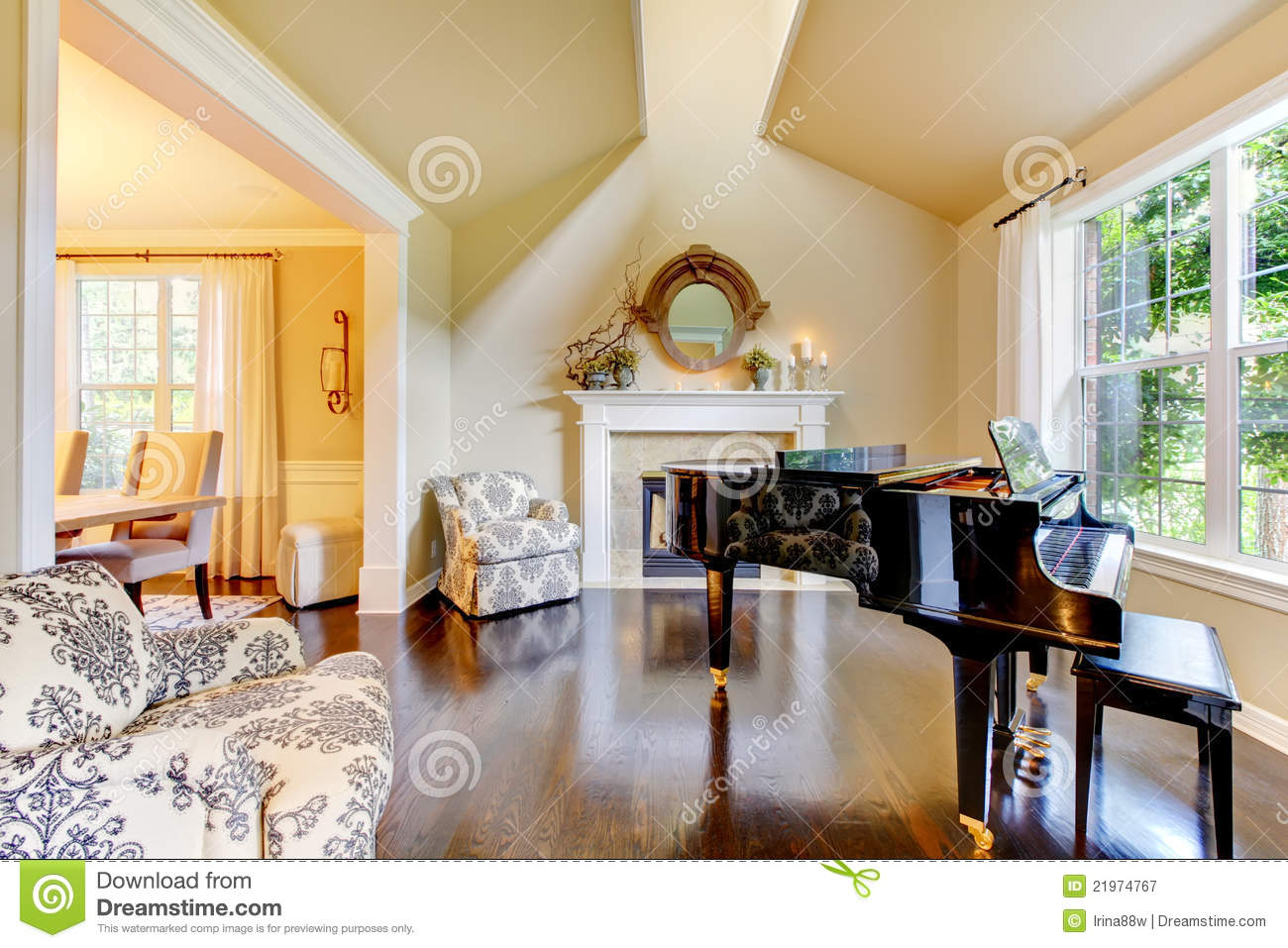 yellow and cream living room yellow living room with piano and fireplace stock 18992