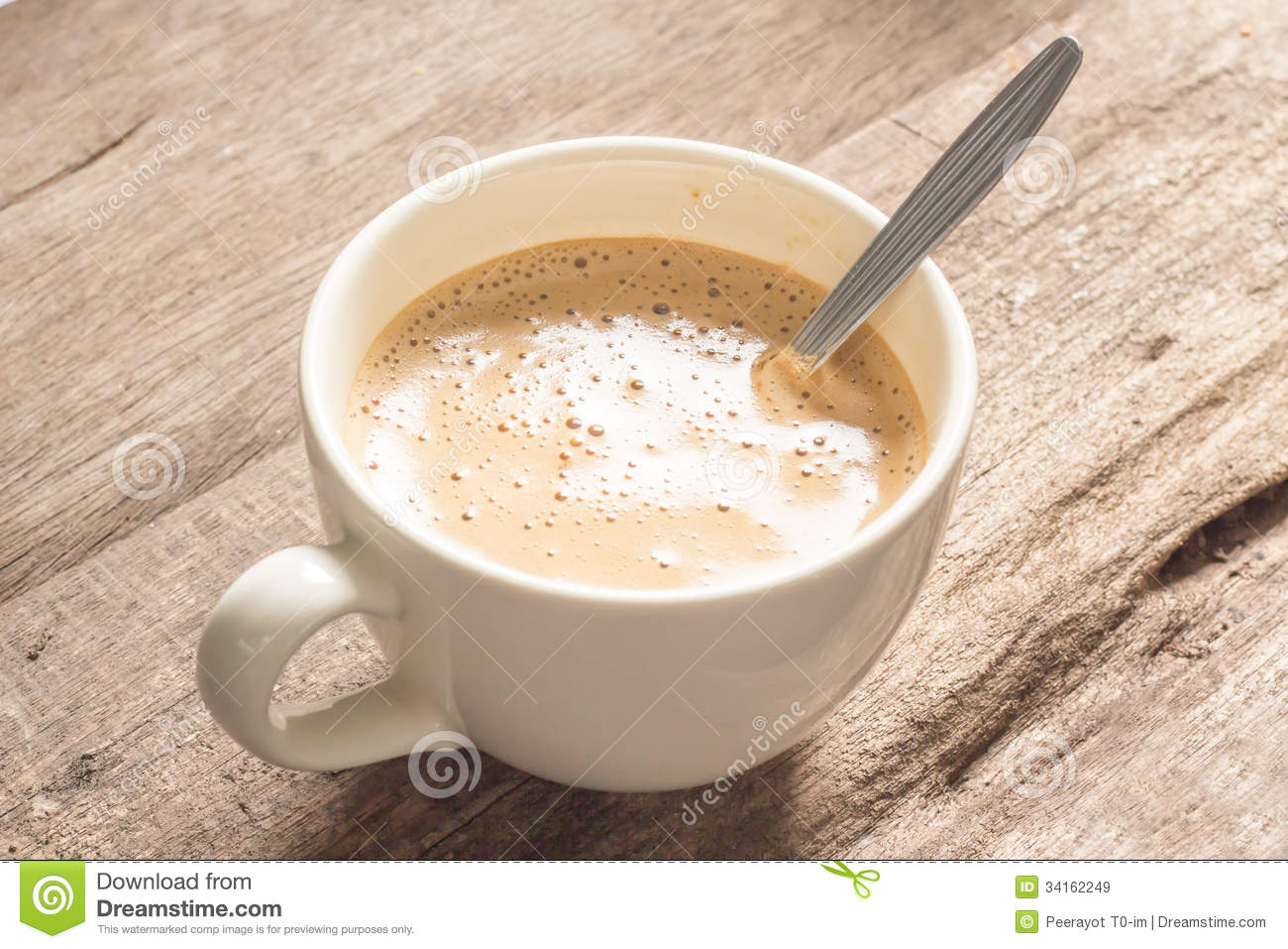 Creamy Coffee On Wood Table Royalty Free Stock Images ...