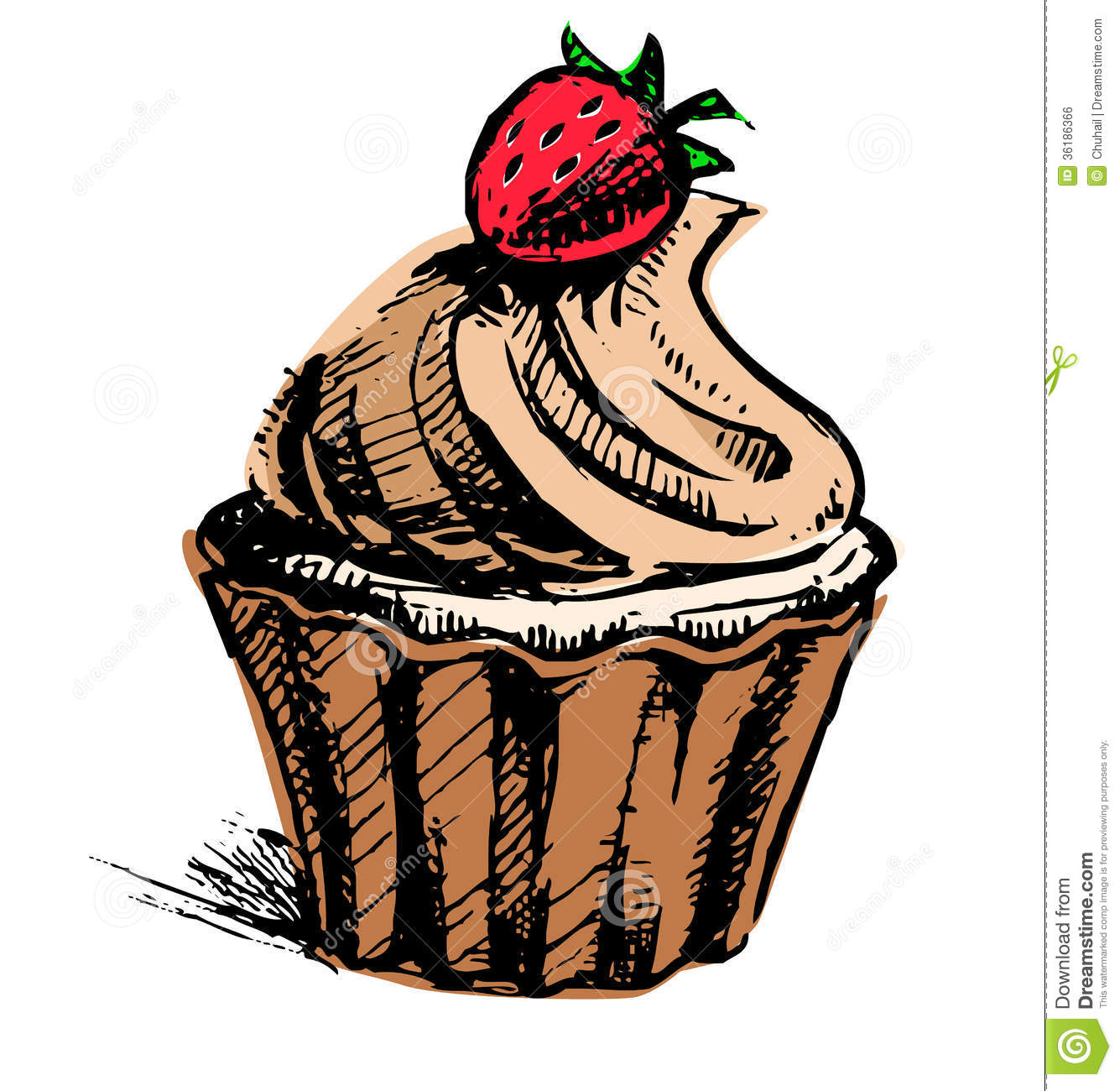 Creamy Cup Cake With Delicious Berry Stock Vector - Image ...