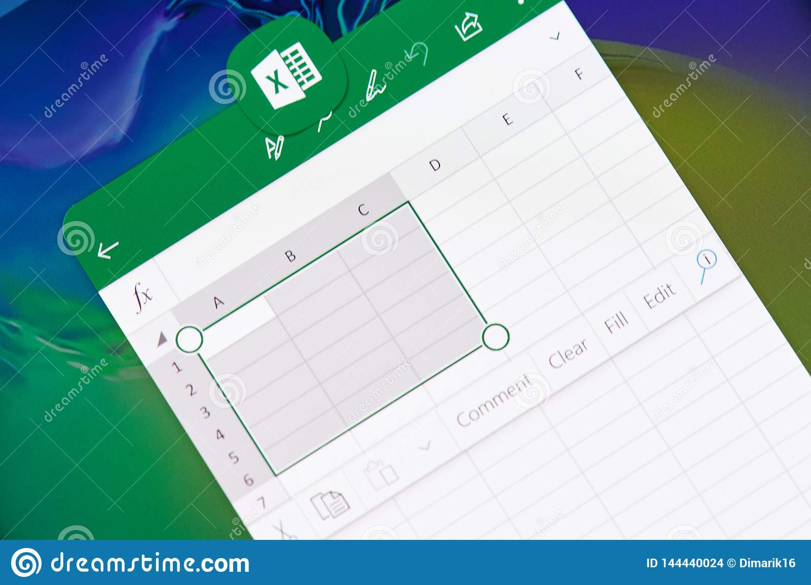 Creando il documento in Microsoft Office eccella l applicazione
