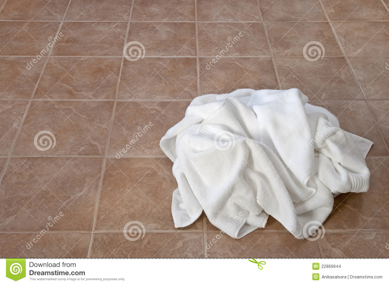 Creased White Towels On Ceramic Floor Stock Images Image