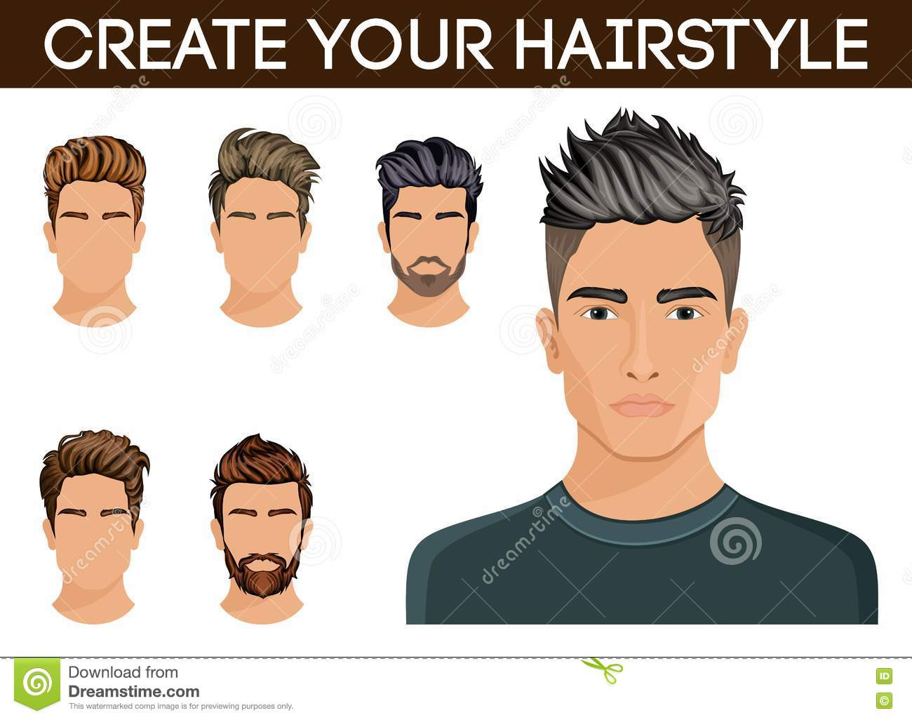 Hairstyle Vector: Create, Change Hairstyles. Men Hair Style Symbol Hipster