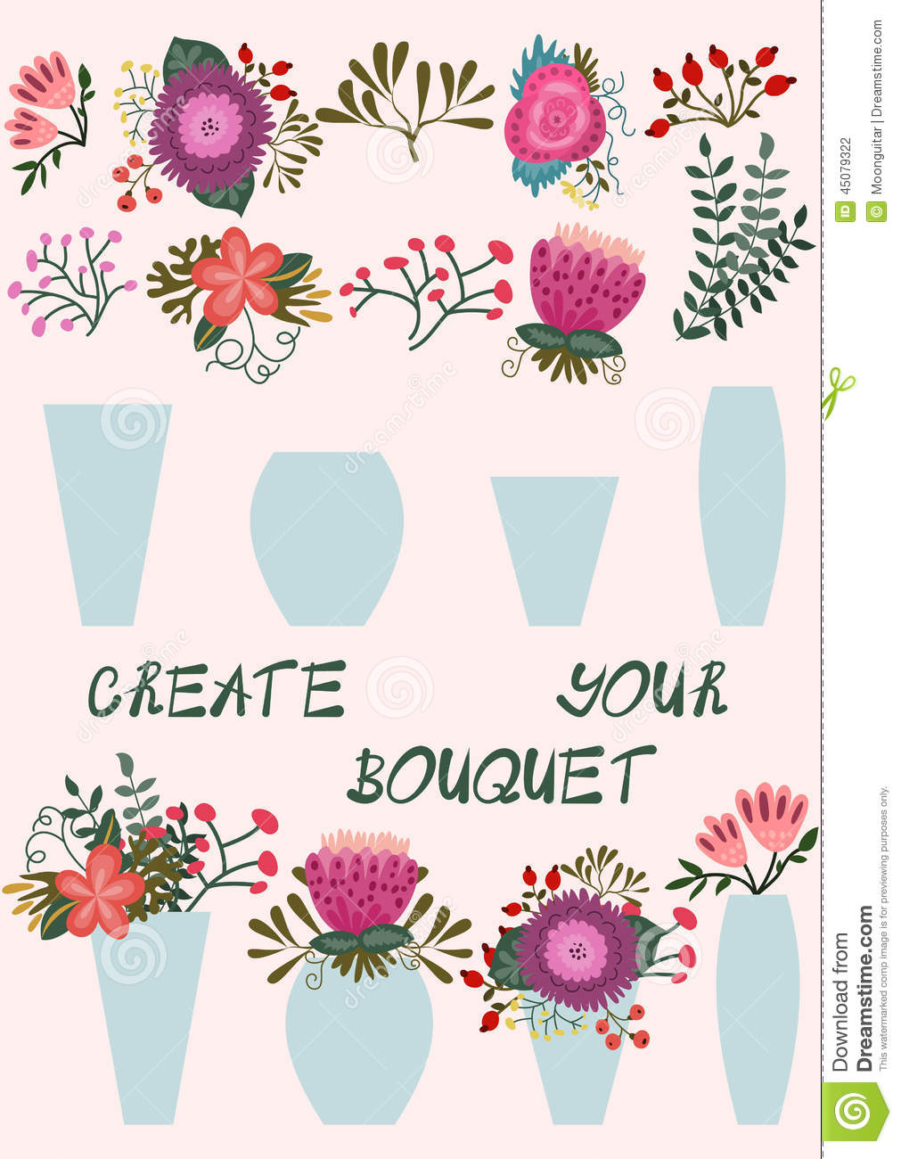 Create Your Bouquet Stock Vector Image 45079322