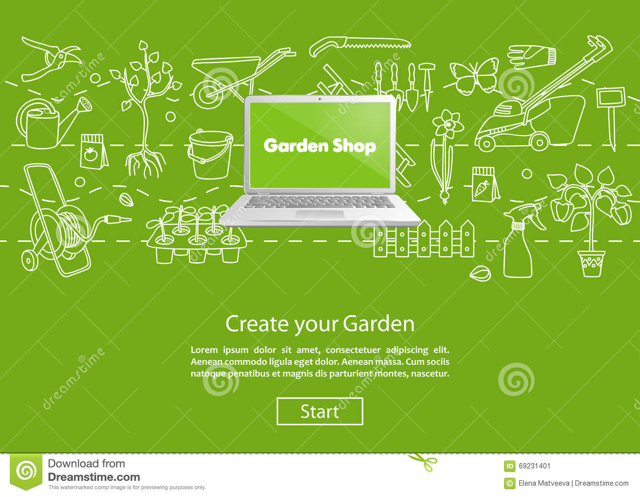 Create your garden green website template stock vector image 69231401 - Design your backyard online ...