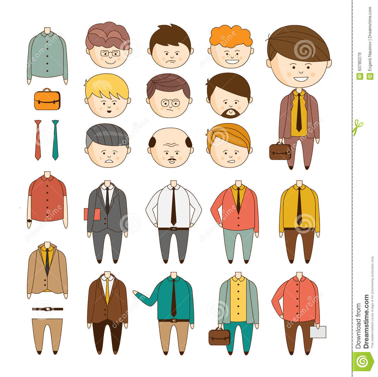 Create Your Ideal Businessman Vector Set Of Stock Vector